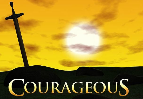 Courageous text, a cross, and the sun